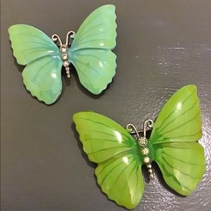 Handcrafted painted enamel butterfly brooch set